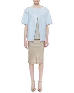 Lafayette 148 New York Short-Sleeve Lambskin Topper, Scoop-Neck Knit Tank & Priscilla Satin Pencil Skirt