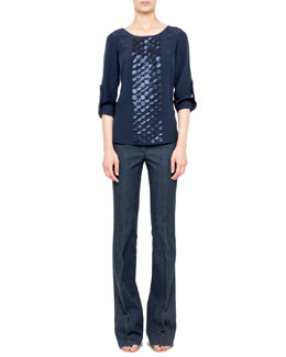 Akris punto Laser-cut Punto Blouse & Fae Boot-Cut Denim Jeans