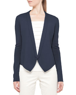 Akris punto Knit No-Collar Jacket & Square-Neck Tank with Pleats