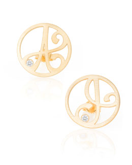 K Kane Singular Mini One-Initial Diamond Stud Earring, Yellow Gold