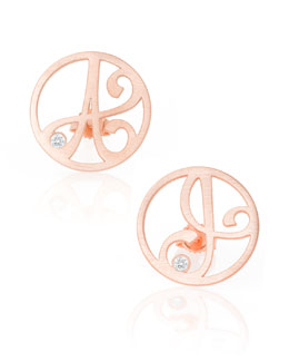 K Kane Singular Mini One-Initial Diamond Stud Earring, Rose Gold