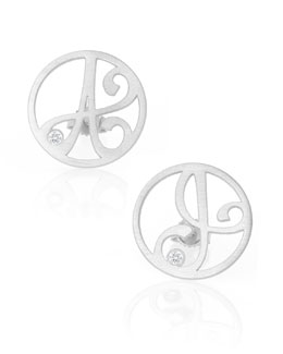 K Kane Singular Mini One-Initial Diamond Stud Earring, Rhodium Silver
