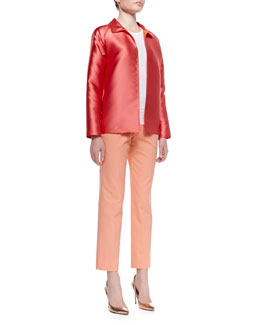 Lafayette 148 New York Sorbet Cloth Zineb Topper & Metro Cropped Bleecker Pants