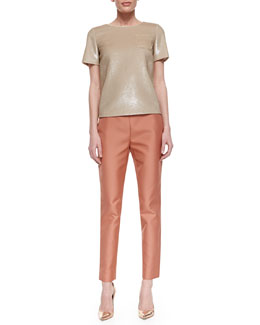 Lafayette 148 New York Morgan Silk Patch-Pocket Topper & Stanton Straight-Leg Ankle Pants