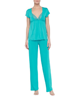 La Perla Antonietta Short-Sleeve Shirt & Pajama Pants