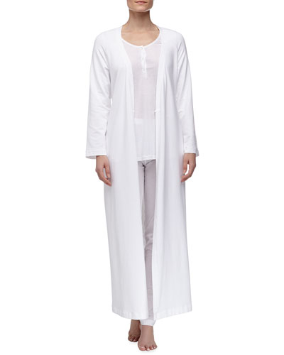 La Perla Maya Floral Accented Pajamas & Long Stretch Knit Robe