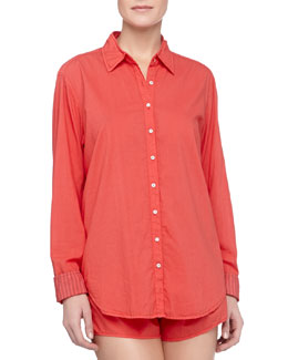 Xirena Poplin Cotton Sleep Shirt & Shorts, Poppy