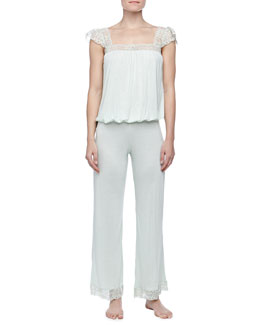 Eberjey Golden Girl Flutter-Sleeve Camisole & Pants