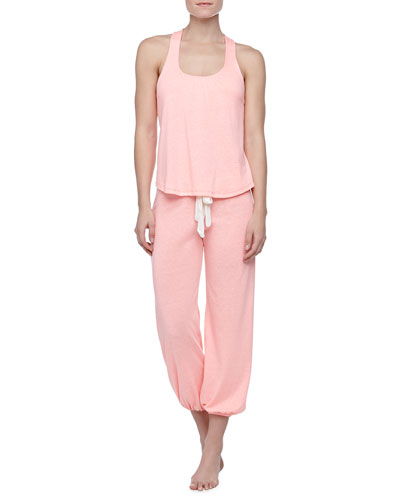 Eberjey Heather Racerback Slub  Lounge Tank & Cropped Pants, Melon Glow