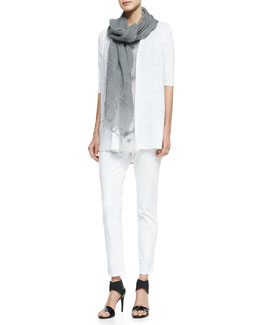 Eileen Fisher Half-Sleeve Open-Front Cardigan, Crystalline Printed Scoop-Neck Tunic, Sequined Striped Linen Scarf & Skinny Ankle Jeans, Petite