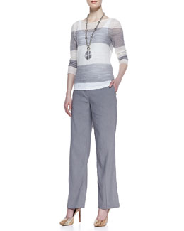 Eileen Fisher Striped Sheer Box Top, Organic Cotton Slim Tank & Linen-Blend Straight-Leg Trousers, Women's