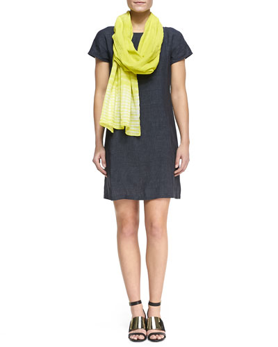 Eileen Fisher Washable Linen Dress & Shibori Cracked-Cotton Scarf