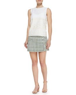 Tory Burch Seraphina Embroidered Sleeveless Cotton Top & Marlene Faux-Wrap Textured Skort