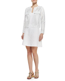 Tory Burch Kyra Laser-Cut Leather Jacket and Alaina A-Line Lattice Skirt