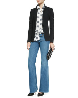 Current/Elliott Brent Slash-Sleeve Blazer, Slim Signature Heart-Print Silk Blouse & Dixie Wide-Leg Jeans