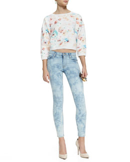 Rebecca Taylor Poppy-Print Cropped Sweatshirt and Nico Good Times Skinny Jeans