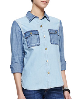 D-ID Denim Amazone Two-Tone Chambray Shirt & Florence Distressed Cropped Skinny Jeans