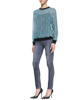 Clover Canyon Intersection Striped Georgette Sweatshirt and Denim Skinny Moto Jeans