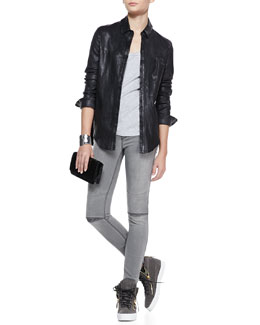 RtA Denim Button-Front Leather Shirt & Slit-Knee Skinny Denim Jeans