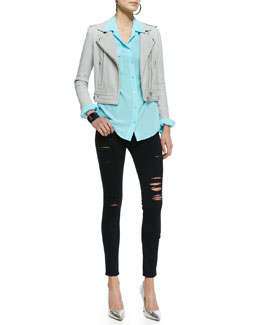 Frame Denim Lulga Snap/Zip Jacket, Signature Silk Blouse & Le Color Rip Skinny Jeans