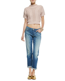 7 For All Mankind Short-Sleeve Mock-Neck Cropped Sweater & Josefina Cuffed Distressed Jeans