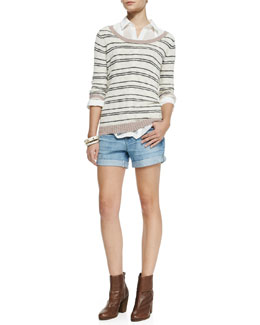 Cameo Livia Striped Knit Sweater, Fire and Rain Georgette Shirt & Hailey Ex-Boyfriend Roll-Up Shorts