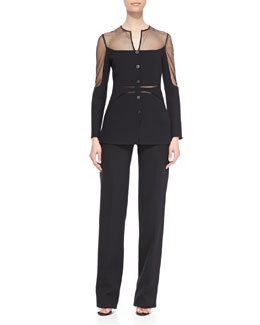 Ralph Rucci Sheer Chiffon-Inset Shadow Jacket & Wool Crepe Tuxedo Pants