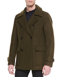 Vince Wool-Blend Pea Coat & Button-Down Check Sport Shirt