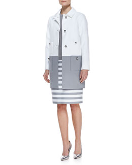 kate spade new york shipley contrast coat, somerset short sleeve sweater & marit striped pencil skirt