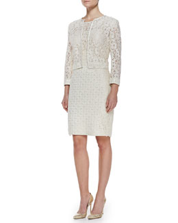 Kay Unger New York Cropped Lace Jacket & Cap-Sleeve Lace/Jacquard Dress