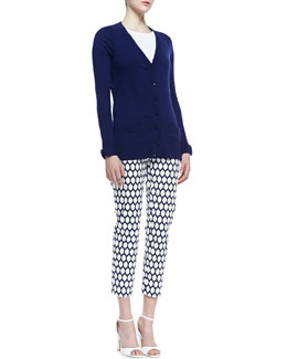 kate spade new york cary bow cuff cardigan & jackie lemon-print capri pants