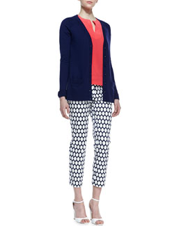 kate spade new york cary bow cuff cardigan/gemma sleeveless v-neck top & jackie lemon-print capri pants