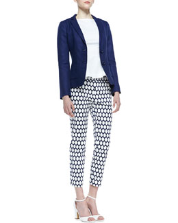 kate spade new york thalia sleeveless bow epaulet top/tami two-button blazer & jackie lemon-print capri pants