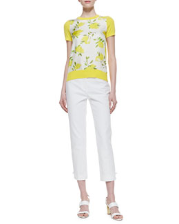 kate spade new york barcley short sleeve lemon print sweater & jackie capri pants
