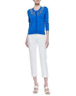 kate spade new york arcadia embellished collar cardigan & jackie capri pants