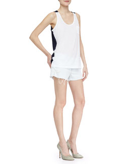 J Brand Jeans Gertrude Two-Tone Jersey Tank & Soft Light-Wash Cutoff Shorts