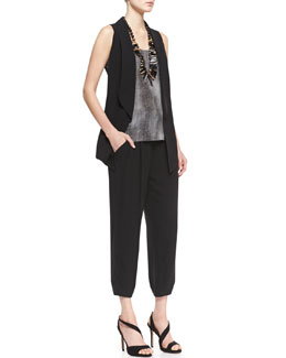 Eileen Fisher Silk Shawl-Collar Vest, Hazy Printed-Silk Shell & Silk Drawstring Cropped Pants, Women's
