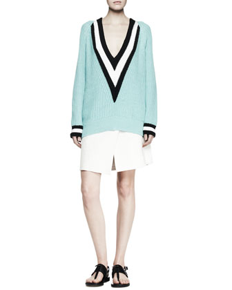 Talia Chunky Knit V-Neck Sweater & Edburg Asymmetric Wrap Skirt