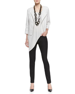 Eileen Fisher Polished Ramie A-Line Jacket , Silk Asymmetric Drape Shell & Organic Soft Stretch Skinny Jeans, Petite