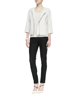 Eileen Fisher Polished Ramie A-Line Jacket ,Silk Jersey Long Slim Camisole & Organic Soft Stretch Skinny Jeans, Women's