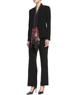 Eileen Fisher Tropical Suiting Open-Front Jacket, Silk Jersey Long Slim Camisole & Tropical Suiting Wide-Leg Trousers