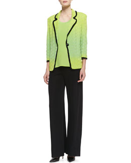Misook Ombre-Knit Contrast-Piping Jacket, Scoop-Neck Tank & Knit Palazzo Pants