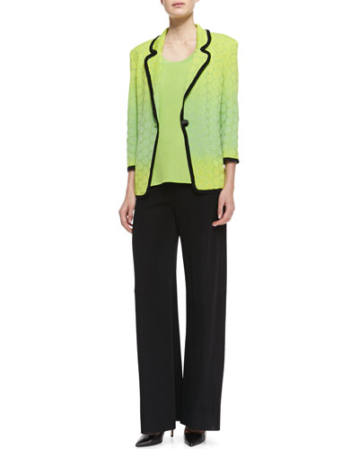 Misook Ombre-Knit Contrast-Piping Jacket, Scoop-Neck Tank & Knit Palazzo Pants, Women's