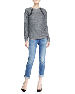 J Brand Jeans Laura Zip-Neck Fleece Sweatshirt & Jake Faded Distressed Cuffed Jeans