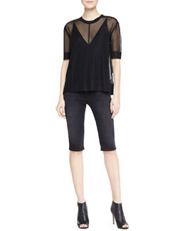 J Brand Ready to Wear Elsa Sheer Top, Lucy Sheer-Back Camisole & Denim Bermuda Bicycle Shorts