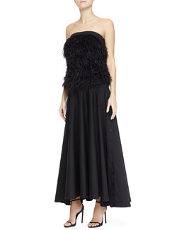 Robert Rodriguez Ostrich Feather Top & Long Shirting Skirt