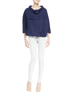 J Brand Jeans Bapsi Faded Denim Poncho Jacket & Low-Rise Skinny Jeans