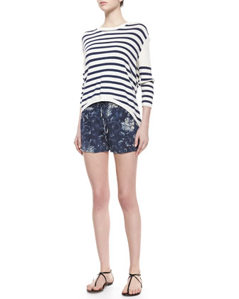 Striped Silk High-Low Pullover & Floral-Print Knit Dolphin Shorts