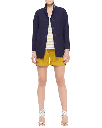 Burberry Brit Drop-Shoulder Linen Blazer, Striped Tank Top & Tailored Shorts