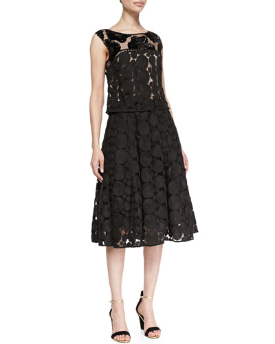 Tracy Reese Contrast Pattern Embellished Shell & Dolce Vita Big & Little Spheres Skirt